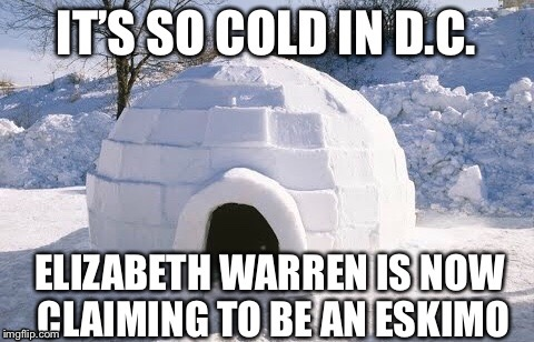 Elizabeth Warren at It Again | image tagged in elizabeth warren,liawatha,igloo,pocahontas | made w/ Imgflip meme maker