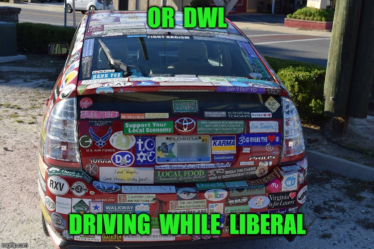 OR  DWL DRIVING  WHILE  LIBERAL | made w/ Imgflip meme maker
