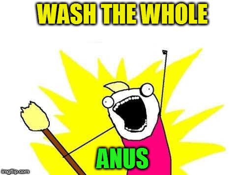 X All The Y Meme | WASH THE WHOLE ANUS | image tagged in memes,x all the y | made w/ Imgflip meme maker