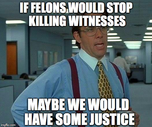 That Would Be Great Meme | IF FELONS WOULD STOP KILLING WITNESSES MAYBE WE WOULD HAVE SOME JUSTICE | image tagged in memes,that would be great | made w/ Imgflip meme maker