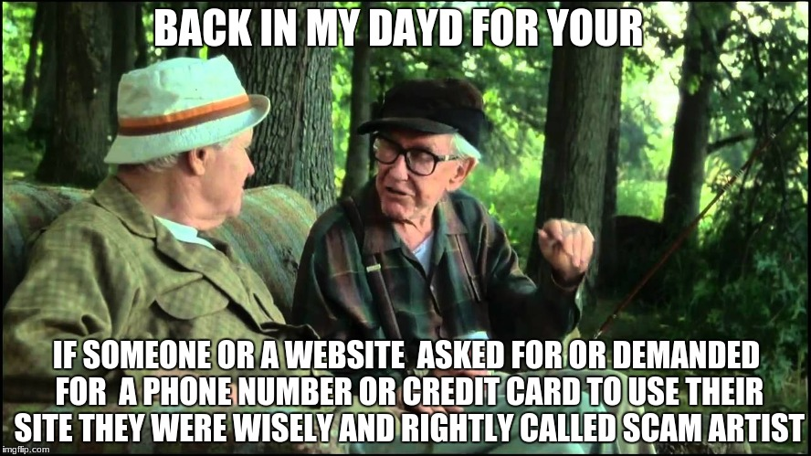 It;s not for your safety ! | BACK IN MY DAYD FOR YOUR IF SOMEONE OR A WEBSITE  ASKED FOR OR DEMANDED FOR  A PHONE NUMBER OR CREDIT CARD TO USE THEIR SITE THEY WERE WISEL | image tagged in grumpy old men,memes,scam | made w/ Imgflip meme maker