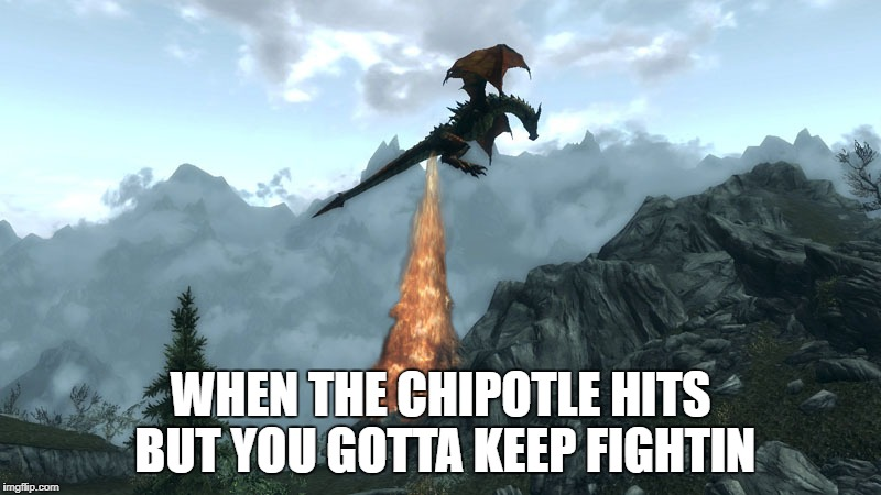 I new that buritto was to good to be true | WHEN THE CHIPOTLE HITS BUT YOU GOTTA KEEP FIGHTIN | image tagged in farting skyrim dragon,funny,chipotle | made w/ Imgflip meme maker