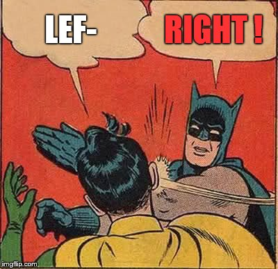 Batman Slapping Robin Meme | LEF- RIGHT ! | image tagged in memes,batman slapping robin | made w/ Imgflip meme maker