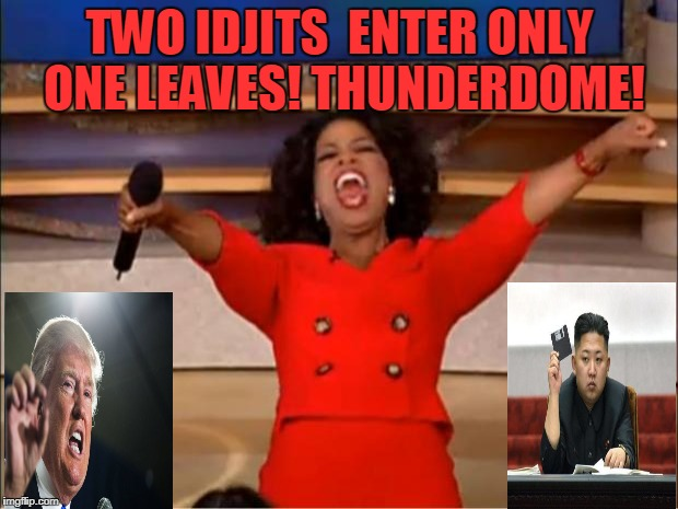 Thunderdome Settles It All! | TWO IDJITS  ENTER ONLY ONE LEAVES! THUNDERDOME! | image tagged in memes,oprah you get a,donald trump,north korea,mad max | made w/ Imgflip meme maker