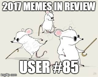 Dec.31 to Feb.1 - 2017 Memes in Review. These are my favorite 2017 memes from each user on the Top 100 leaderboard. | 2017 MEMES IN REVIEW USER #85 | image tagged in blind mice,memes,top users,theraven8386,favorites,2017 memes in review | made w/ Imgflip meme maker