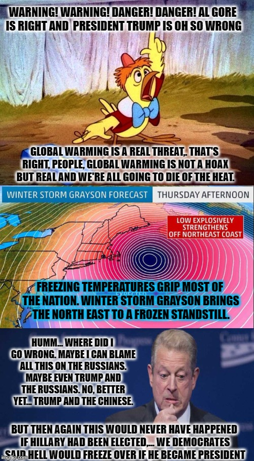 First came Al Gore. Then followed the Chicken Little's. Then Grayson. Maybe it's time to blame Hillary losing the 2016 election? | WARNING! WARNING! DANGER! DANGER! AL GORE IS RIGHT AND  PRESIDENT TRUMP IS OH SO WRONG GLOBAL WARMING IS A REAL THREAT,. THAT'S RIGHT, PEOPL | image tagged in memes,global warming,donald trump approves,election 2016 aftermath,al gore,sad but true | made w/ Imgflip meme maker