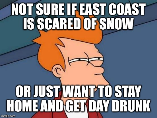 Futurama Fry Meme | NOT SURE IF EAST COAST IS SCARED OF SNOW OR JUST WANT TO STAY HOME AND GET DAY DRUNK | image tagged in memes,futurama fry | made w/ Imgflip meme maker