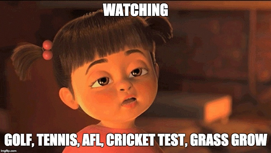 Bored | WATCHING GOLF, TENNIS, AFL, CRICKET TEST, GRASS GROW | image tagged in bored,boring | made w/ Imgflip meme maker