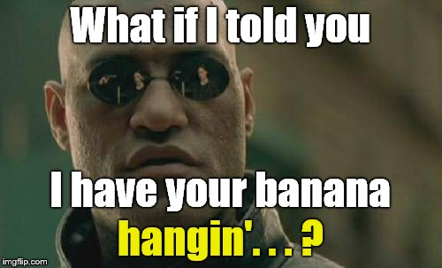 Matrix Morpheus Meme | What if I told you hangin'. . . ? I have your banana | image tagged in memes,matrix morpheus | made w/ Imgflip meme maker