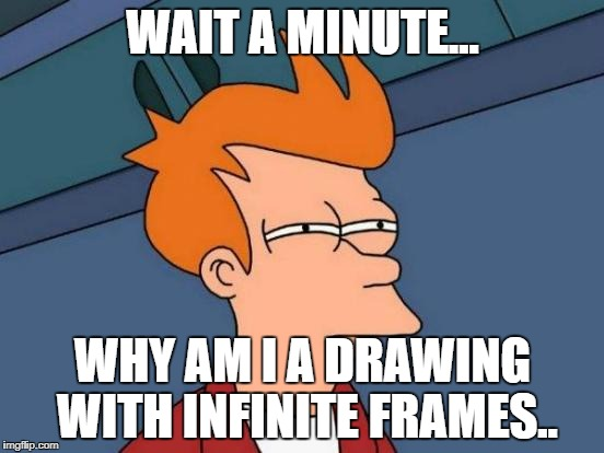 Futurama Fry Meme | WAIT A MINUTE... WHY AM I A DRAWING WITH INFINITE FRAMES.. | image tagged in memes,futurama fry | made w/ Imgflip meme maker
