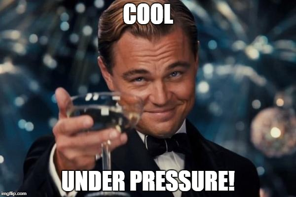 Leonardo Dicaprio Cheers Meme | COOL UNDER PRESSURE! | image tagged in memes,leonardo dicaprio cheers | made w/ Imgflip meme maker