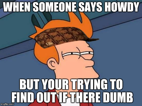 Futurama Fry Meme | WHEN SOMEONE SAYS HOWDY BUT YOUR TRYING TO FIND OUT IF THERE DUMB | image tagged in memes,futurama fry,scumbag | made w/ Imgflip meme maker