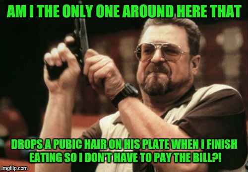 Am I The Only One Around Here Meme | AM I THE ONLY ONE AROUND HERE THAT DROPS A PUBIC HAIR ON HIS PLATE WHEN I FINISH EATING SO I DON'T HAVE TO PAY THE BILL?! | image tagged in memes,am i the only one around here | made w/ Imgflip meme maker