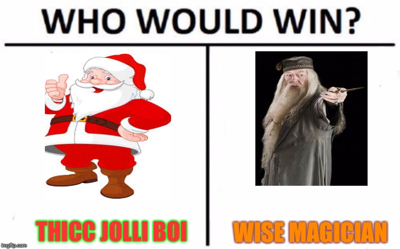 Who Would Win? Meme | THICC JOLLI BOI WISE MAGICIAN | image tagged in memes,who would win | made w/ Imgflip meme maker
