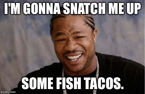 Yo Dawg Heard You Meme | I'M GONNA SNATCH ME UP SOME FISH TACOS. | image tagged in memes,yo dawg heard you | made w/ Imgflip meme maker