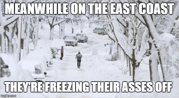 blizzard | MEANWHILE ON THE EAST COAST THEY'RE FREEZING THEIR ASSES OFF | image tagged in blizzard | made w/ Imgflip meme maker