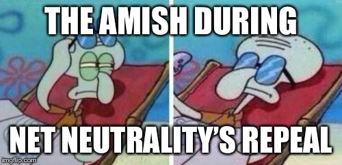 :P | THE AMISH DURING NET NEUTRALITY'S REPEAL | image tagged in squidward suntanning,memes,amish,net neutrality | made w/ Imgflip meme maker