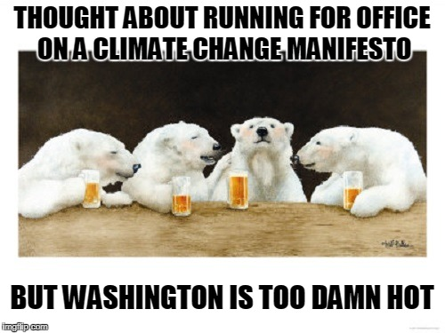 THOUGHT ABOUT RUNNING FOR OFFICE ON A CLIMATE CHANGE MANIFESTO BUT WASHINGTON IS TOO DAMN HOT | made w/ Imgflip meme maker