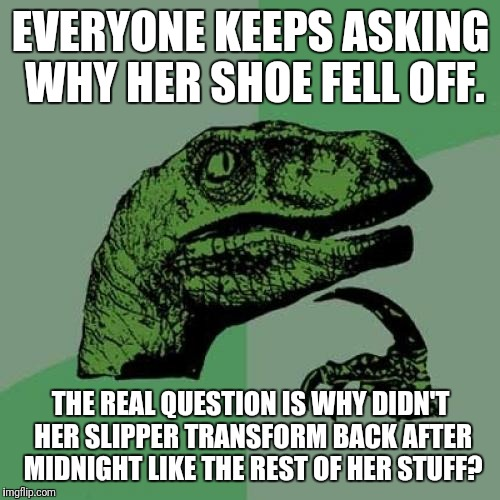 Philosoraptor Meme | EVERYONE KEEPS ASKING WHY HER SHOE FELL OFF. THE REAL QUESTION IS WHY DIDN'T HER SLIPPER TRANSFORM BACK AFTER MIDNIGHT LIKE THE REST OF HER  | image tagged in memes,philosoraptor | made w/ Imgflip meme maker