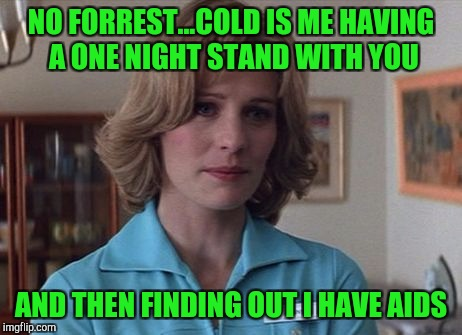 NO FORREST...COLD IS ME HAVING A ONE NIGHT STAND WITH YOU AND THEN FINDING OUT I HAVE AIDS | made w/ Imgflip meme maker