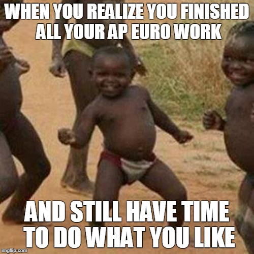 Third World Success Kid Meme | WHEN YOU REALIZE YOU FINISHED ALL YOUR AP EURO WORK AND STILL HAVE TIME TO DO WHAT YOU LIKE | image tagged in memes,third world success kid | made w/ Imgflip meme maker