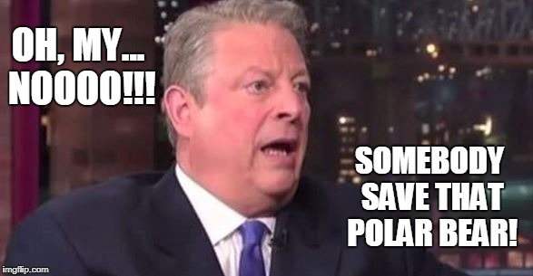 Save the Polar Bear | OH, MY... NOOOO!!! SOMEBODY SAVE THAT POLAR BEAR! | image tagged in al gore,global warming,funny,conservatives | made w/ Imgflip meme maker