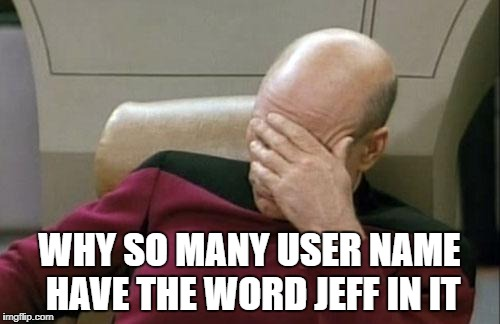 Captain Picard Facepalm Meme | WHY SO MANY USER NAME HAVE THE WORD JEFF IN IT | image tagged in memes,captain picard facepalm | made w/ Imgflip meme maker