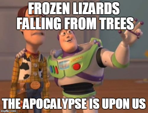 X, X Everywhere Meme | FROZEN LIZARDS FALLING FROM TREES THE APOCALYPSE IS UPON US | image tagged in memes,x x everywhere | made w/ Imgflip meme maker
