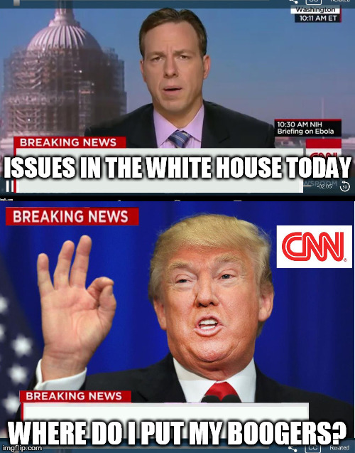 CNN phony Trump news | ISSUES IN THE WHITE HOUSE TODAY WHERE DO I PUT MY BOOGERS? | image tagged in cnn phony trump news | made w/ Imgflip meme maker
