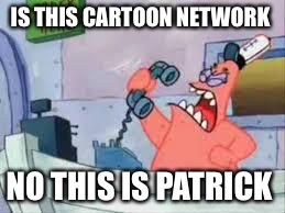 NO THIS IS PATRICK | IS THIS CARTOON NETWORK NO THIS IS PATRICK | image tagged in no this is patrick | made w/ Imgflip meme maker