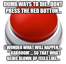 DUMB WAYS TO DIE...DONT PRESS THE RED BUTTON... I WONDER WHAT WILL HAPPEN....  ** KABOOOM*... SO THAT WHAT BEING BLOWN UP FEELS LIKE.... | image tagged in big red button | made w/ Imgflip meme maker