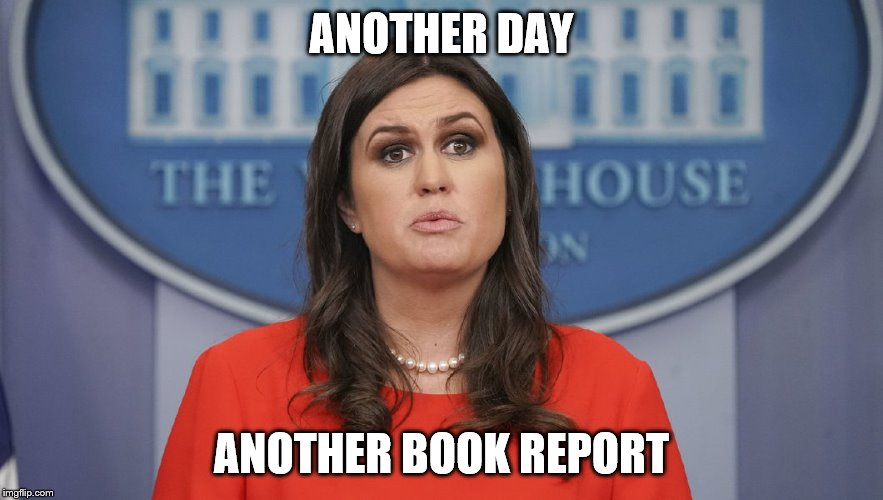 ANOTHER DAY ANOTHER BOOK REPORT | image tagged in sarah sanders lost | made w/ Imgflip meme maker