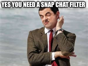 Mr Bean Sarcastic | YES YOU NEED A SNAP CHAT FILTER | image tagged in mr bean sarcastic | made w/ Imgflip meme maker