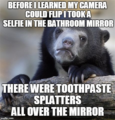 Confession Bear Meme | BEFORE I LEARNED MY CAMERA COULD FLIP I TOOK A SELFIE IN THE BATHROOM MIRROR THERE WERE TOOTHPASTE SPLATTERS ALL OVER THE MIRROR | image tagged in memes,confession bear | made w/ Imgflip meme maker