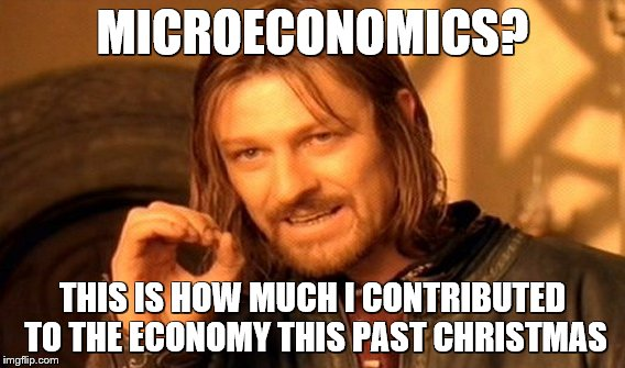 One Does Not Simply Meme | MICROECONOMICS? THIS IS HOW MUCH I CONTRIBUTED TO THE ECONOMY THIS PAST CHRISTMAS | image tagged in memes,one does not simply | made w/ Imgflip meme maker