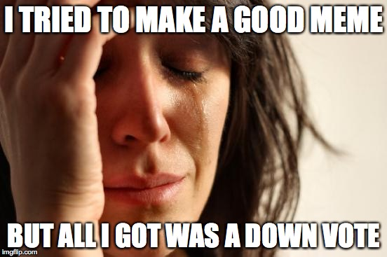 First World Problems Meme | I TRIED TO MAKE A GOOD MEME BUT ALL I GOT WAS A DOWN VOTE | image tagged in memes,first world problems | made w/ Imgflip meme maker
