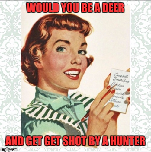 WOULD YOU BE A DEER AND GET GET SHOT BY A HUNTER | image tagged in green vintage ocd housewife | made w/ Imgflip meme maker