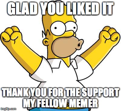 GLAD YOU LIKED IT THANK YOU FOR THE SUPPORT MY FELLOW MEMER | made w/ Imgflip meme maker