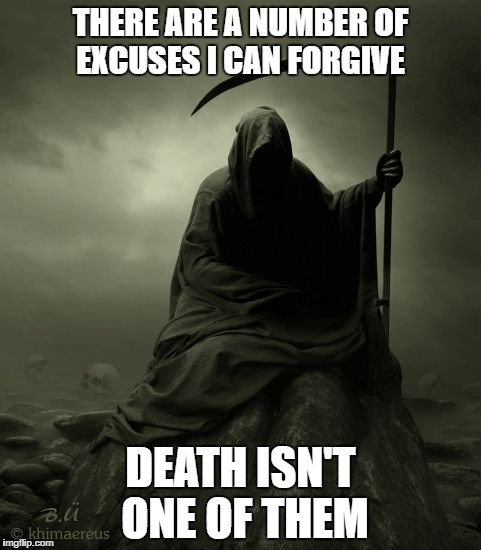 THERE ARE A NUMBER OF EXCUSES I CAN FORGIVE DEATH ISN'T ONE OF THEM | image tagged in grim reaper 2016 | made w/ Imgflip meme maker