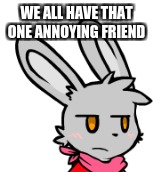 That friend that leaves you like: | WE ALL HAVE THAT ONE ANNOYING FRIEND | image tagged in rabbit,furry,friends,stupid people | made w/ Imgflip meme maker