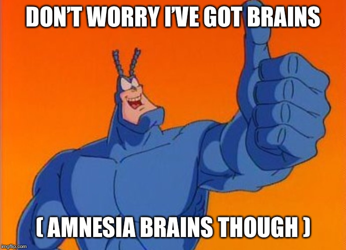 DON'T WORRY I'VE GOT BRAINS ( AMNESIA BRAINS THOUGH ) | made w/ Imgflip meme maker