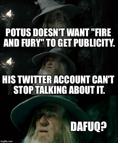 "Fire and Fury - Is it the book or Twitter | POTUS DOESN'T WANT ""FIRE AND FURY"" TO GET PUBLICITY. HIS TWITTER ACCOUNT CAN'T STOP TALKING ABOUT IT. DAFUQ? 
