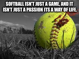 Softball is my life and dream | SOFTBALL ISN'T JUST A GAME, AND IT ISN'T JUST A PASSION ITS A WAY OF LIFE. | image tagged in it's a wonderful life | made w/ Imgflip meme maker