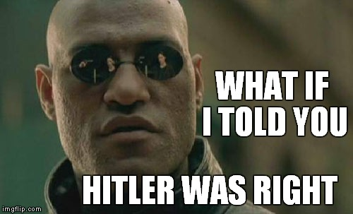 Matrix Morpheus Meme | WHAT IF I TOLD YOU HITLER WAS RIGHT | image tagged in memes,matrix morpheus | made w/ Imgflip meme maker