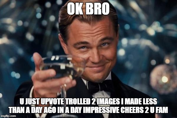 Leonardo Dicaprio Cheers Meme | OK BRO U JUST UPVOTE TROLLED 2 IMAGES I MADE LESS THAN A DAY AGO IN A DAY IMPRESSIVE CHEERS 2 U FAM | image tagged in memes,leonardo dicaprio cheers | made w/ Imgflip meme maker