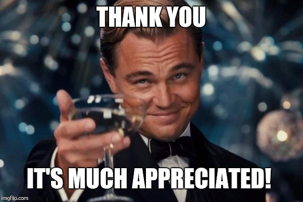 Leonardo Dicaprio Cheers Meme | THANK YOU IT'S MUCH APPRECIATED! | image tagged in memes,leonardo dicaprio cheers | made w/ Imgflip meme maker