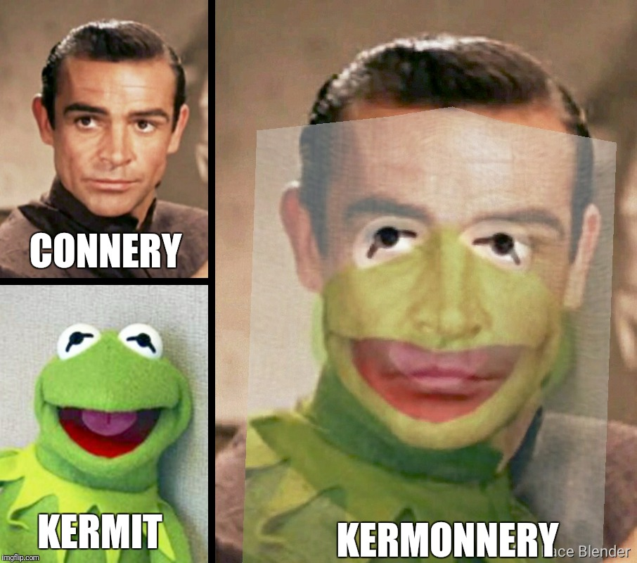 THE BRUNDLEFLY EFFECT.  WHEN IT ALL GOES HORRIBLY WRONG IN THE TELEPOD |  CONNERY; KERMONNERY; KERMIT | image tagged in kermit vs connery,sean connery vs kermit,the fly,brundlefly,telepods,jeff goldblum | made w/ Imgflip meme maker