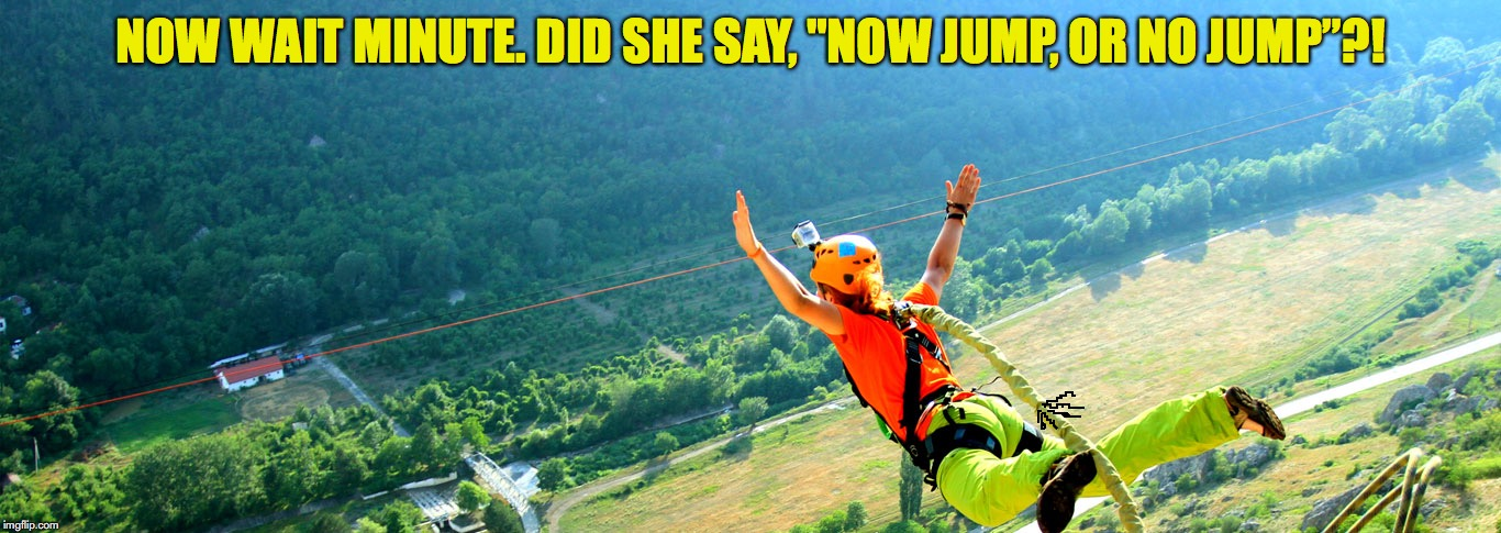 "Next time use an air horn | NOW WAIT MINUTE. DID SHE SAY, ""NOW JUMP, OR NO JUMP""?! 