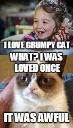 I LOVE GRUMPY CAT IT WAS AWFUL WHAT? I WAS LOVED ONCE | made w/ Imgflip meme maker