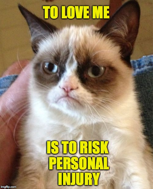 If I can see you, you're still too close. | TO LOVE ME IS TO RISK PERSONAL INJURY | image tagged in memes,grumpy cat | made w/ Imgflip meme maker